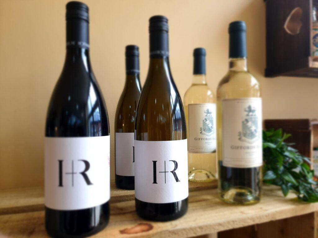 line of bottles of wine